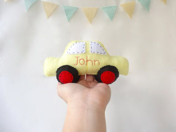 Personalized Car Toy, Plush toy Felt, car Toy, felt  car toy, nursery room decor, personalised gift, baby shower giveaway by LaPetiteMelina