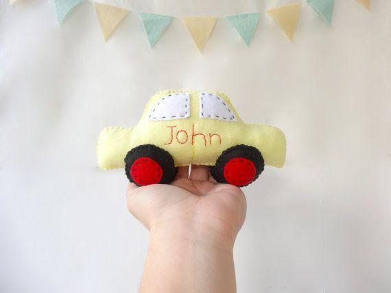 Personalized Car Toy, Plush toy Felt, car Toy, felt  car toy, nursery room decor, personalised gift, baby shower giveaway by LaPetiteMelina