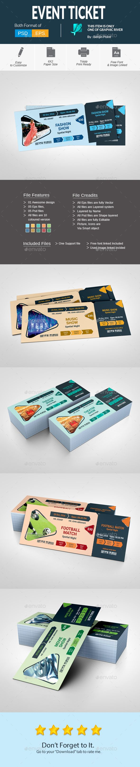 Event Ticket  — PSD Template #ticket #event • Download ➝ https://graphicriver.net/item/event-ticket/18435254?ref=pxcr