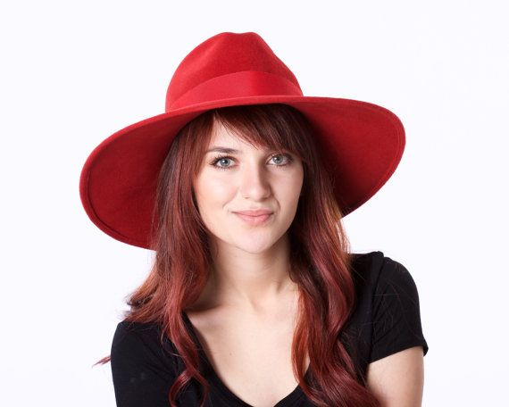 Wide Brimmed Hat- Red Fedora Hat- Fall Fashion- Winter Accessories- Wide Brimmed Fedora- Fall Hat- Women's Hat- KatarinaHats- Custom Hat