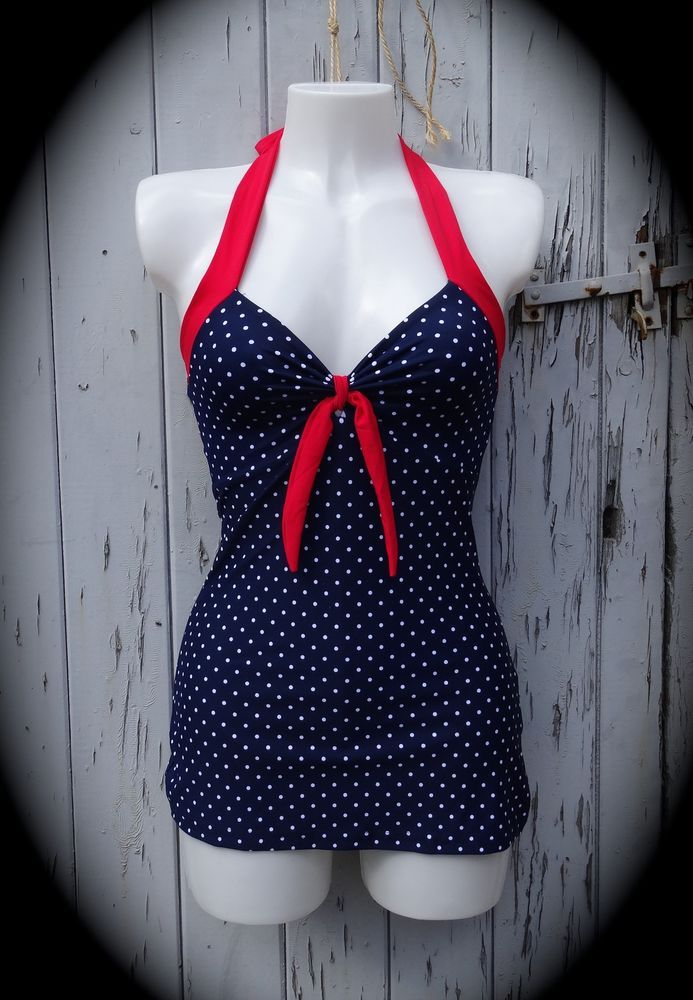 1950s Pin Up Girl Blue & White Polka Dot Vintage Swimming Costume 10 12 14 16 18 in Clothes, Shoes & Accessories, Women's Clothing, Swimwear | eBay!