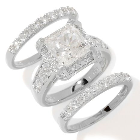 victoria wieck absolute square pav 3 piece ring set - 3 Piece Wedding Ring Set