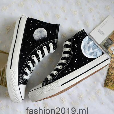 Harajuku kosmischen Mond gemalt Schuhe aus Harajuku Mode, #gemalt #harajuku #kosmischen #schuhe #shoes