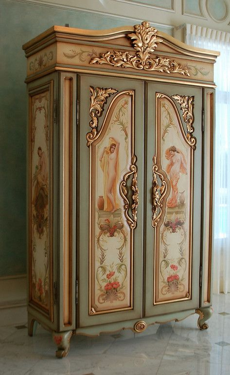 Hand Painted U0027french Armoireu0027 With Goldleaf Gilding, ...