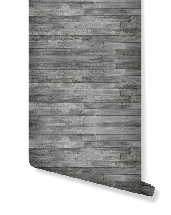 Self Adhesive Removable Wallpaper Gray Distressed Rustic Wood Etsy Removable Wallpaper Wood Plank Walls Rustic Wood