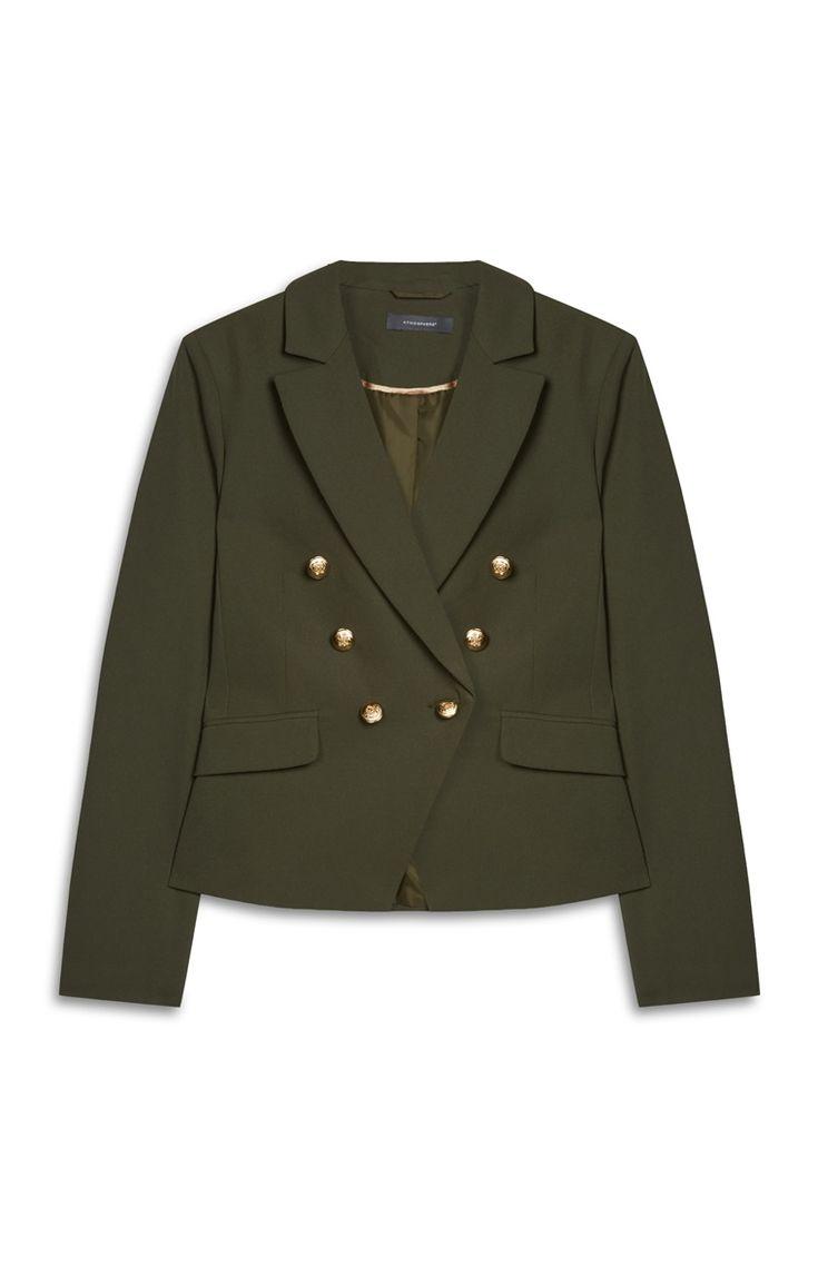 Khakifarbene Jacke im Militär-Stil