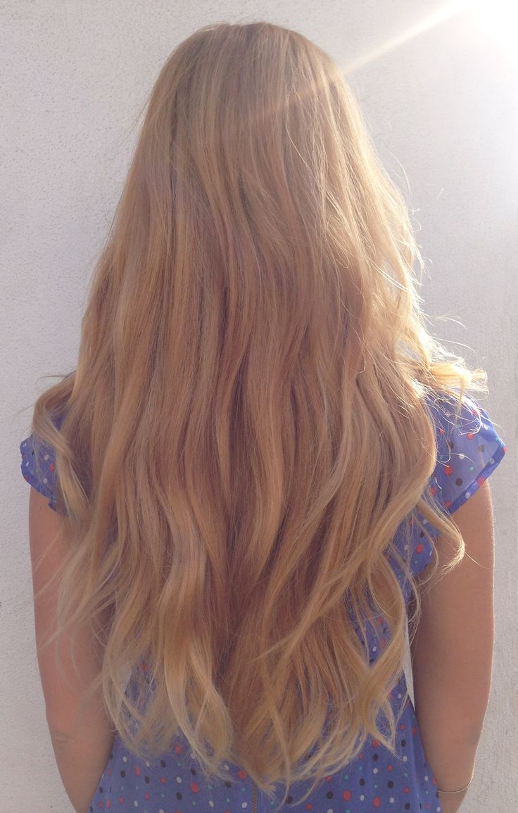 Long Golden Strawberry Blonde Hair With Balayage