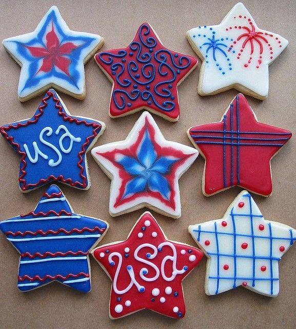Star Shaped Memorial Day Patriotic Sugar Cookies
