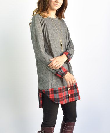 Look what I found on #zulily! Charcoal Plaid Tunic #zulilyfinds