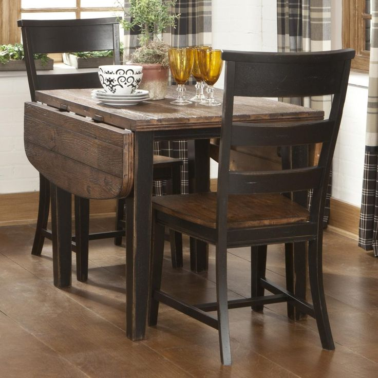 Intercon Winchester 3 Piece Drop Leaf Table And Ladder Back Chair Set