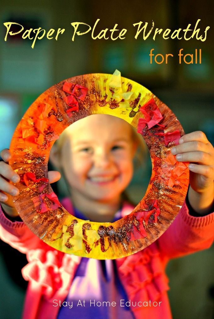 Paper Plate Wreaths for Fall