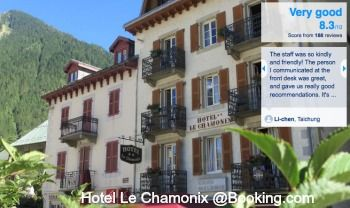Hotel Chamonix, a two start hotel rated Very Good 8.3 by reviewers. It is located directly opposite the Tourist Office