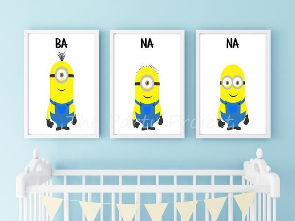 Welcome your baby home with sweet nursery prints and include the perfect finishing touch to your child's nursery, kids bedroom or playroom with these cute Despicable Me themed print wall décor with the Minions favorite word BANANA! Or, if you are invited to a Minions birthday party or a Despicable Me baby shower you can quickly print and frame this Minion printable wall art, for a wonderful unique gift!