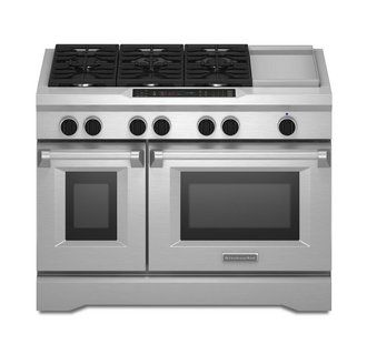 View the KitchenAid KDRS483V 48 Inch Wide Dual Fuel 6.3 Cu. Ft. Commercial Style Freestanding Range with Double Ovens at Build.com.
