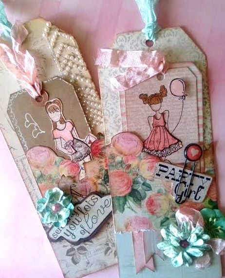 Julie Nutting will be showing us how to make these beautiful doll tags using her new line on LWP March 4th! Stamping, cutting, inking...it's all FUN! Come join us! #julienutting #paperdolls #dollstamps #primamarketing #LWP