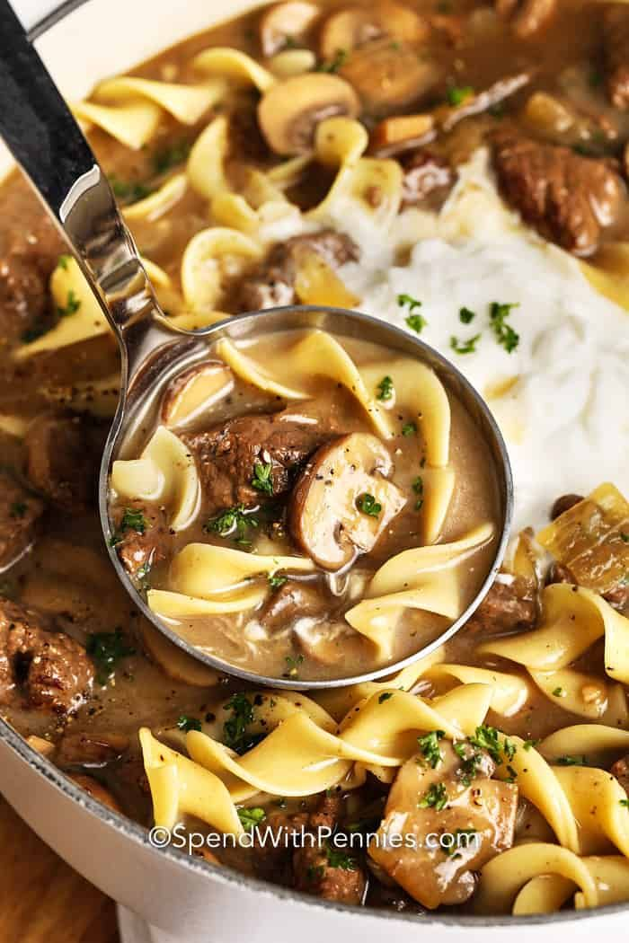 Creamy Beef Stroganoff Soup Is Made With Tender Chunks Of Beef Mushrooms Noodles In An Extra Delicious Bro In 2020 Slow Cooker Soup Beef Stroganoff Making Beef Stew