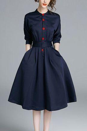 Dark Navy Buttons – Ausgestelltes Kleid – #Ausgest…