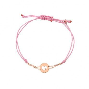 Ιδιαίτερο γυναικείο βραχιόλι με στρογγυλή καρδιά ροζ χρυσό Κ14 με διαμάντι, περασμένο σε διπλή αλυσίδα & ροζ κορδόνι | Βραχιόλια ΤΣΑΛΔΑΡΗΣ στο Χαλάνδρι #καρδια #διαμαντι #χρυσο #υφασμα #βραχιολι
