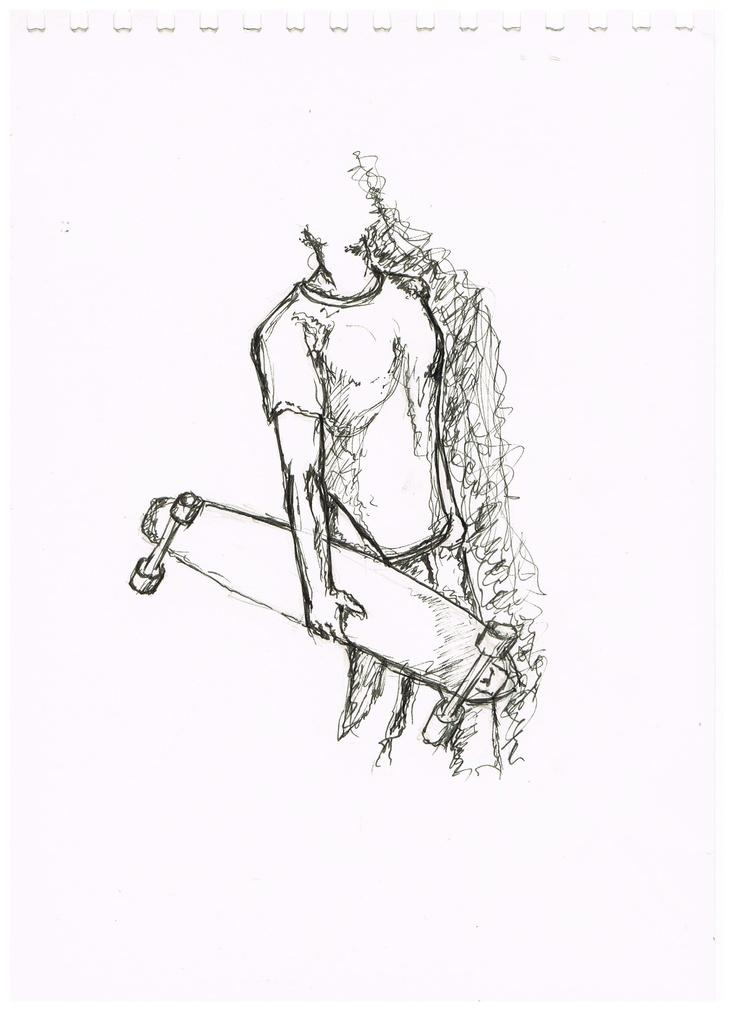 Linienrausch T-Shirt Skizze mit Longboarder