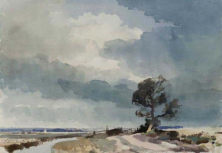 Edward Seago (1910 — 1974, UK) Turf Fen, Norfolk. watercolour.