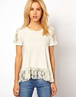 ASOS Trapeze Top with Lace Insert
