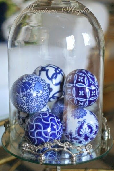 Trend Alert - collect blue and white balls and display in a cloche. #TuesdayMorning