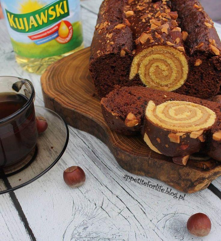 Ciasto czekoladowe z orzechowym ślimakiem  