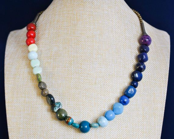 Beaded Necklaces  Rainbow Necklace  Rainbow Jewellery  Rainbow Jewelry  Statement Necklace Kazuri Bead  Kazuri Necklace  Bronze Necklace  LGBT Jewelry  Pride Necklace  Pride Jewelry  Rainbow Wedding Pride Jewellery  LGBT Pride Necklace thecoastaldesert The Coastal Desert handmade jewellery jewelry etsy boho african
