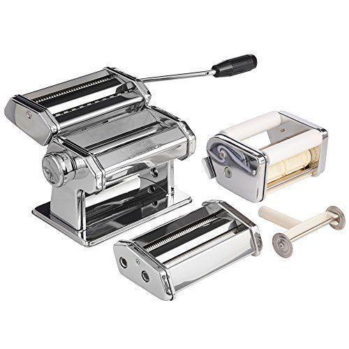 Pasta Maker Machine Ravioli Spaghetti Noodle Stainless Steel Roller Dough Cutter #PastaMakerMachine