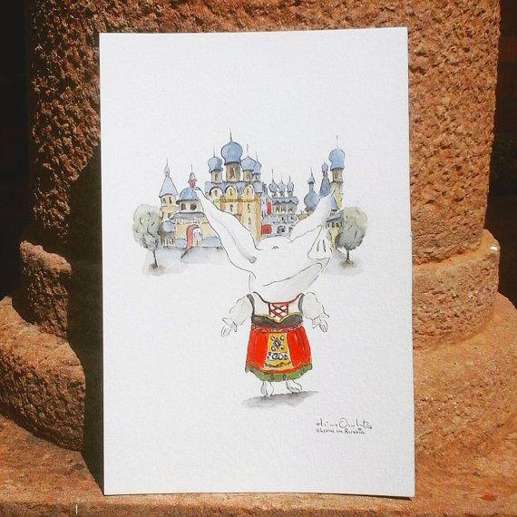 Olivia in Russia / Original in Watercolor / 9  6 by MAramburo