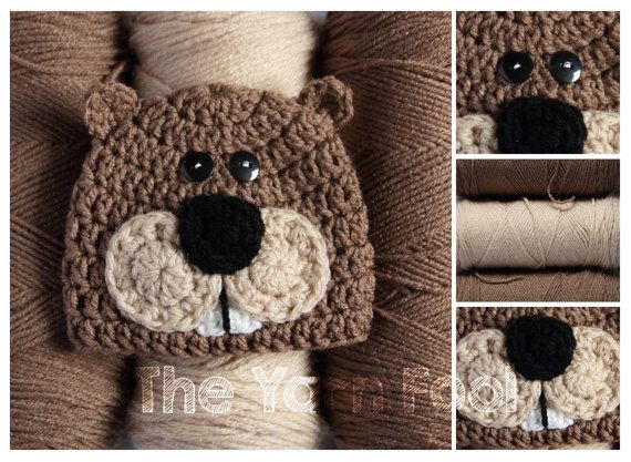 Newborn, Infant, Youth Sized Crochet Beaver Hat
