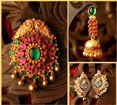 Gorgeous gold, pearl and ruby earrings. Indian fashion.