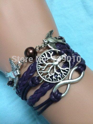 Старинное серебро птица бусины бесконечность дерево реальных подвески фиолетовый многослойные кожаные веревки браслеты браслеты мода мужчины женщины ювелирные изделия