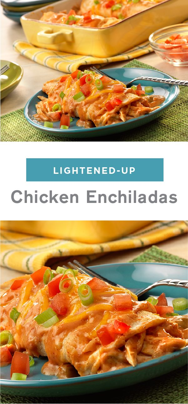 Looking for a way to use that leftover chicken? These easy-to-prepare, kicked-up enchiladas come out of the oven hot and bubbly. For a Mexican-inspired dish that will have your family begging for more, look no further than this Lightened-Up Chicken Enchilada recipe!