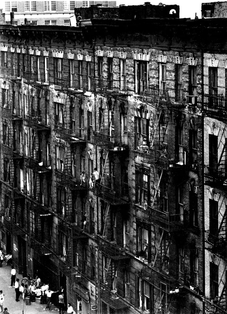 onlyoldphotography: Bruce Davidson: Facade of East 100th street, New York, 1966