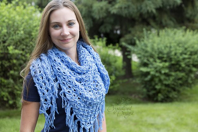 Ravelry: Broomstick Lace Triangle Shawl pattern by Crystalized Designs