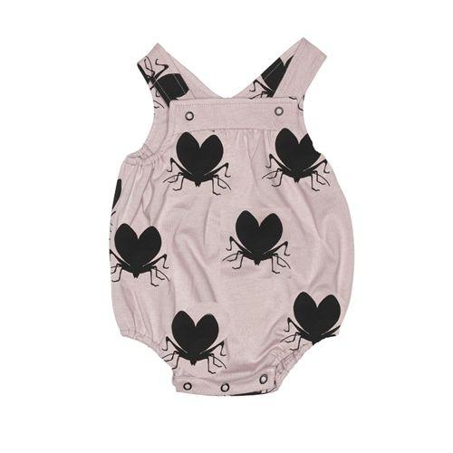 Beau LOves Dusty Pink Lovebugs Harper Sunsuit at cissywears.com