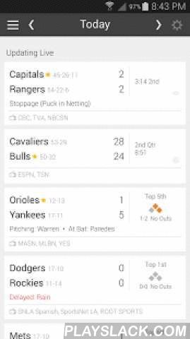 Live Game Updates MLB NFL NBA  Android App - playslack.com ,  Check schedules, live game updates, & sports news from the NFL, NBA, NHL & MLB!Tired of cluttered sports apps? Want to check the scores and see when your team is playing? Look no further! Want to follow all your local sports teams without juggling multiple apps? This app is for you!* Scores & game statuses update LIVE! Stay on top of your teams when on the go.* Customize the schedule the way you want: filter by leagues…