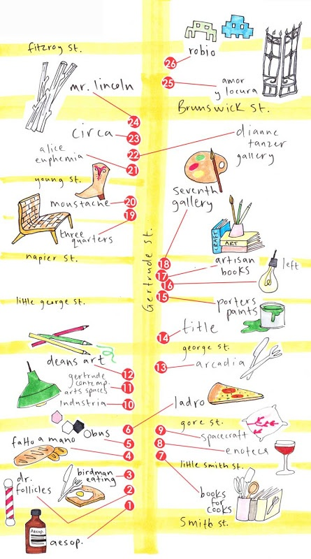 A handy map for Gertrude st Shopping Guide  from The Design Files (circa 2008)