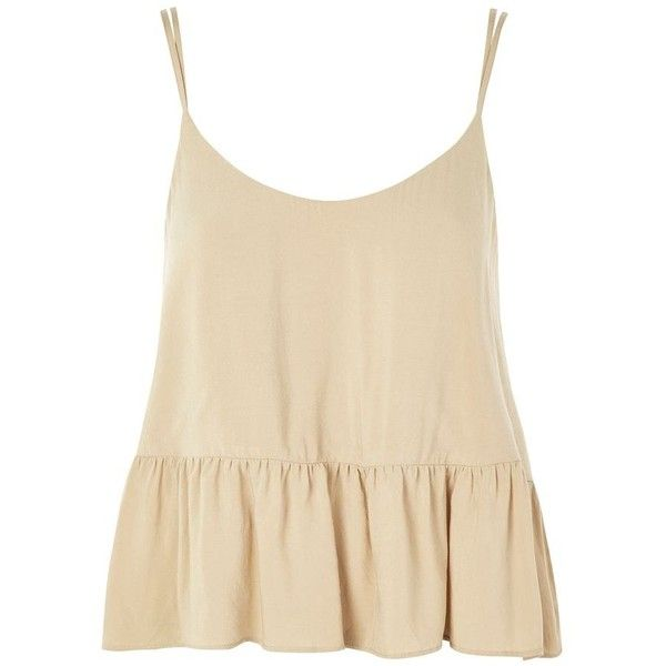 Topshop Peplum Camisole Top ($20) ❤ liked on Polyvore featuring tops, pale green, topshop tops, cami top, strappy cami, viscose tops and peplum tops