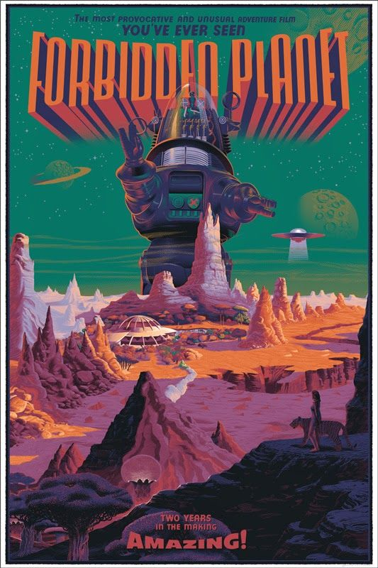 Forbidden Planet poster by Laurent Durieux this was a really good old sci fi film. #film movie #cinema #posters