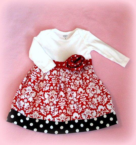 Onesie Dress  Baby Girl Winter Onesie Dress  by NansFancyPants, $21.00