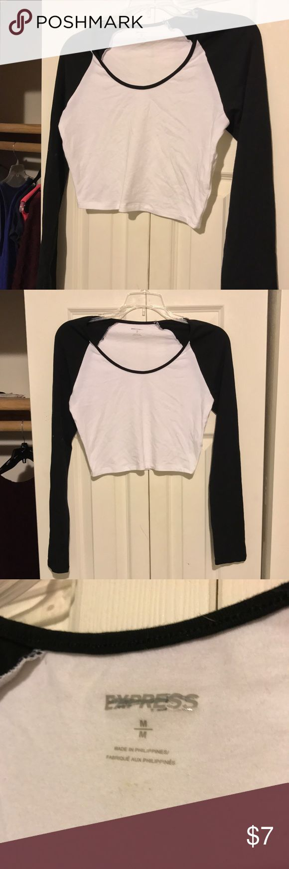 Express Baseball Crop Cotton fitted baseball Crop Top from Express. Black & white. Great condition! Express Tops Crop Tops