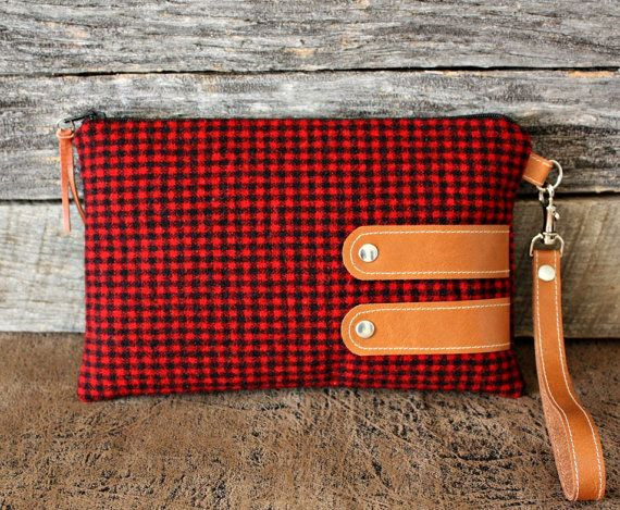 Red and Black Gingham Wool Wristlet / Leather / by SweetPeaTotes, $34.00