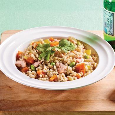 Mijoté d'orge au saumon et légumes