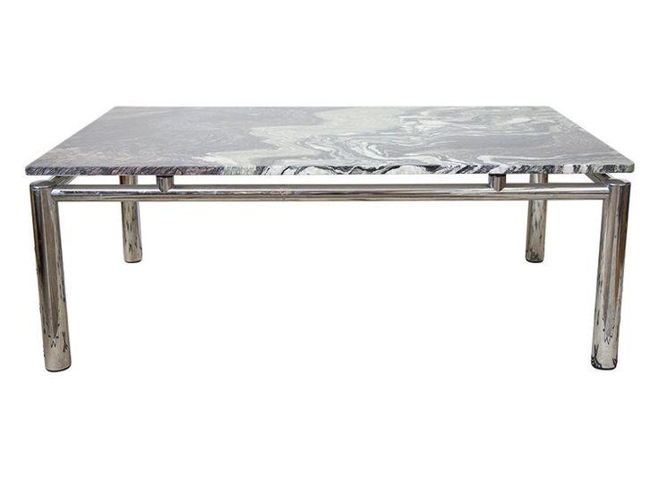 Stunning Granite and Chrome Swedish Coffee Table