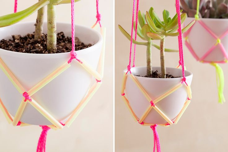 these planters would be really fun for a wedding if your venue had somewhere to hang them from