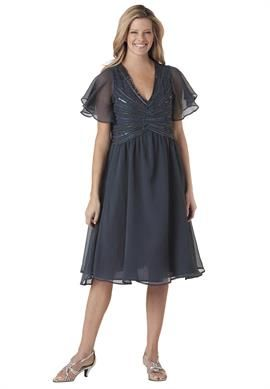 Plus Size Dress in crinkle chiffon with empire waist and sequin starburst comes in pewter for Cindy