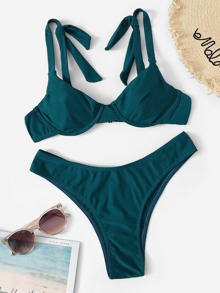 Top mit Schulterbindung und hoch geschnittenem Bikini #Ad, #sponsored, # and …