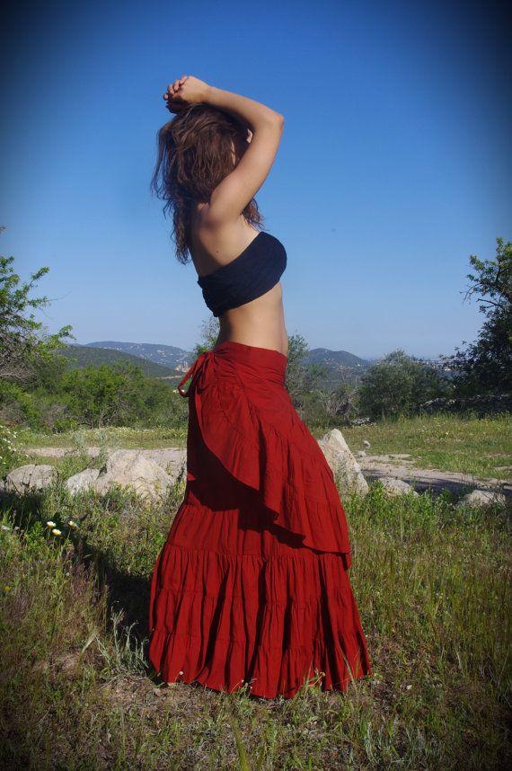 Flamenco Skirt  Green Skirt Elven Skirt Dancing Skirt by Kalbelia